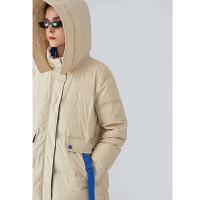 【2件2折 �B券�A估�r:337.5元】初�Z女士羽�q服中�L款2020冬季新款撞色��松白色�B帽保暖加厚外套
