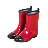 时尚新品男女雨鞋中筒水靴韩版情侣雨靴防滑防水保暖鞋懒人胶套鞋 红色 s260单鞋