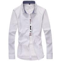 长袖男士春季衬衫纯色商务休闲工装男白色衬衣修身格子男装寸衫潮qg