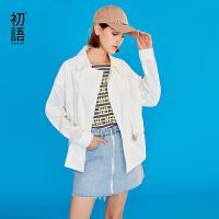 初语白色风衣女2019春装新款韩版宽松休闲收腰翻领心机短款外套