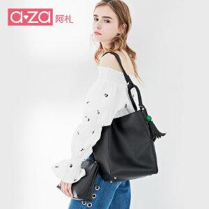 A-ZA/阿札aza阿札2017新款女包 韩式流苏双面料单肩手提大包1312