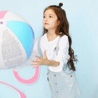 【2件2.5折到手价:32.5】美特斯邦威旗下Moomoo女童公主袖长袖T恤新款中大童儿童针织恤小孩