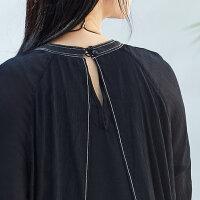 [AMII东方极简] JII东方极简 2018春装新款超仙不规则正式场合连衣裙女黑色