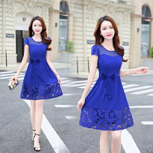 夏季新款连衣裙大码女装薄短袖宽松韩版中长款裙子潮