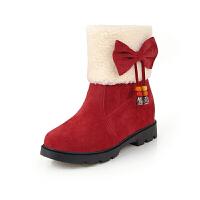 中大女童短靴2018新款童鞋女雪地靴蝴蝶结保暖加厚绒毛女童靴子冬