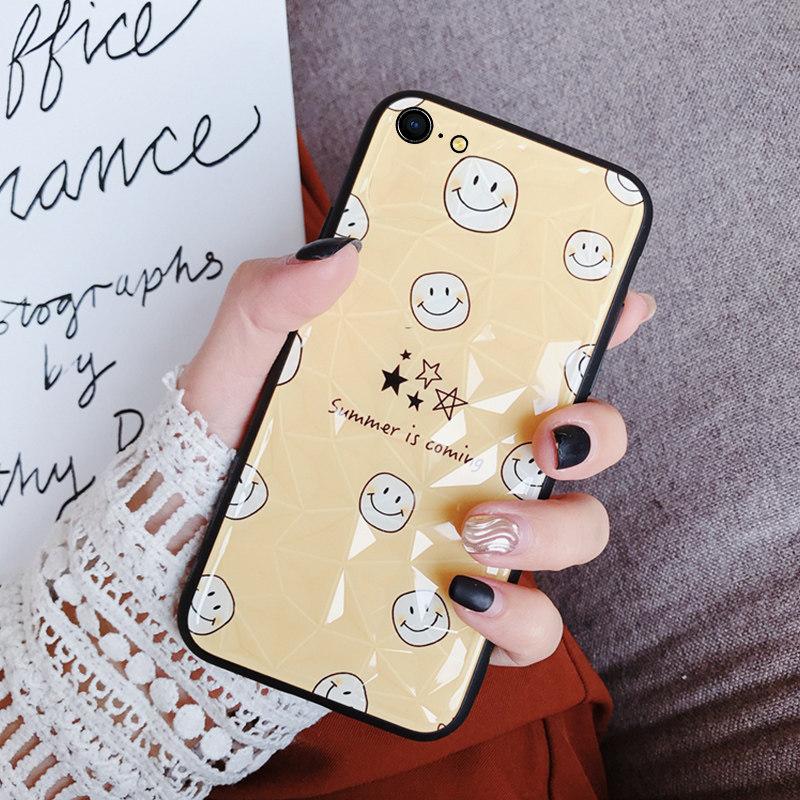 苹果x手机壳钻石纹笑脸iphone6s女款软壳xsmax新款xs情侣硅胶创意xr个性防摔7plu 新款钻石纹防摔女款软壳