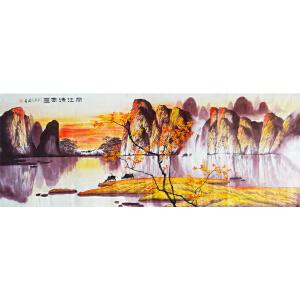 现代画家   肖建   丽江清风图   六尺