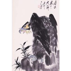 著名画家  唐云《鹰石图》