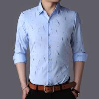男士短袖衬衫商务休闲薄款印花免烫衬衣青年男式长短袖衬衫