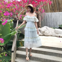 荷叶边吊带连衣裙蛋糕裙长裙女巴厘岛海边沙滩度假仙女裙子夏 灰绿色