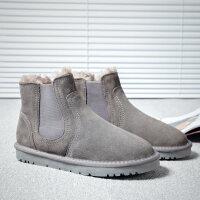 雪地靴男冬季男鞋保暖棉鞋加绒防水情侣面包鞋真皮男靴马丁靴子潮