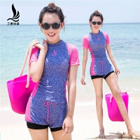 游泳衣韩国保守学生分体平角裤大码运动游泳装女显瘦遮肚