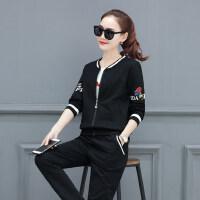 韩版宽松时尚印花休闲棒球服女卫衣三件套运动套装女