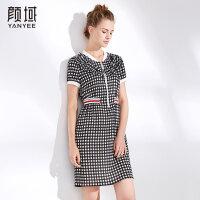 颜域品牌女装2018夏装新款气质短袖撞色拼接修身显瘦格子连衣裙女