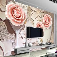 欧式客厅电视背景墙壁纸3d浮雕立体大型壁画无缝墙纸壁画情缘玫瑰