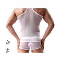 男士性感透气大码透明网眼工字背心 运动健身弹力紧身打底汗背心