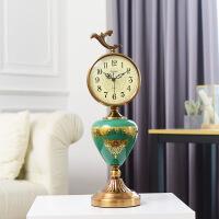 美式创意钟表客厅座钟欧式奢华台钟桌面摆件台式摆钟大号复古时钟