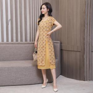 2018年夏季韩版碎花拼接休闲修身显瘦气质优雅连衣裙