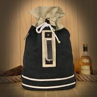 双肩帆布背包水桶包复古单肩包学生大容量书包旅行大包抽带式女包