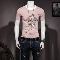 男短袖T恤冰丝光棉半袖体恤圆领印第安人刺绣半截袖修身夏季潮流 粉色 M