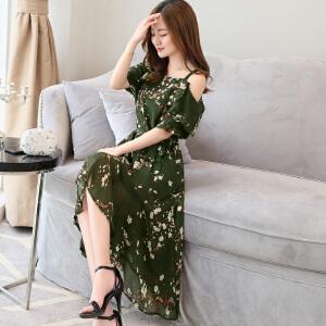 风轩衣度 2018年夏季新款连衣裙露肩碎花潮流休闲时尚气质拼接 2133-8817