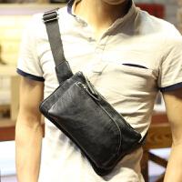 男士腰包新款背包斜跨小包休闲包斜挎韩版 单肩男包胸包手机小包 黑色