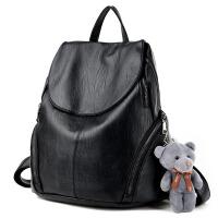 包包春季双肩包女包简约休闲软皮旅行背包日韩时尚书包 黑色送小熊