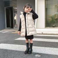 女童棉马甲2018秋冬新款韩版洋气潮公主儿童棉马夹背心保暖中长款 米白色