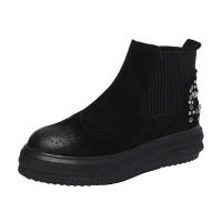 2018秋冬女鞋英伦布洛克铆钉水钻松紧带真皮厚底马丁靴松糕女短靴