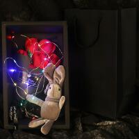 情人节送女朋友香皂肥皂花礼盒生日浪漫韩国创意仿真玫瑰花 红色 7朵红送许愿兔灯