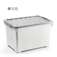 收纳箱 塑料储物箱衣服玩具整理箱带轮储物盒衣物收纳盒抖音同款 超值装: 128L*2个