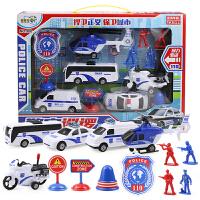 儿童回力玩具车套装 男孩玩具飞机模型宝宝警车摩托车全套13件
