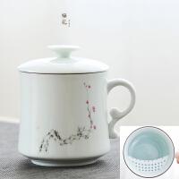 会议茶杯陶瓷景德镇过滤带盖家用喝水杯子办公室泡茶杯马克杯定制