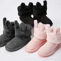 美特斯邦威雪地靴17冬新款女趣味可拆卸雪地靴202664商场同款