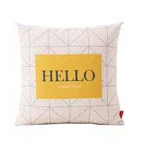 棉麻抱枕沙发靠垫办公室靠枕床头靠背垫汽车护腰北欧风格简约 45x45cm 棉麻/含芯