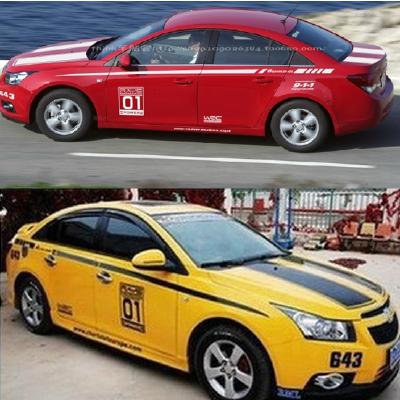 雪佛兰科鲁兹新赛欧L3改装专用全车贴纸 腰线 汽车拉花大黄蜂车贴