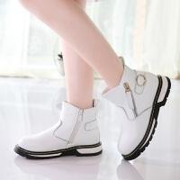休闲男女童黑白短靴2018冬季新款儿童时尚搭扣侧拉链学生鞋