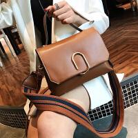 格子女包包2018新款韩版简约宽肩带手提包复古撞色单肩斜跨包小包