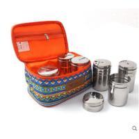 户外民族风调料盒防调味瓶调味罐套装水野营收纳包201无磁不锈钢
