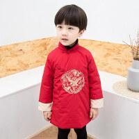 拜年服宝宝男唐装男童新年装中国风冬装加厚汉服儿童过年喜庆衣服 红色