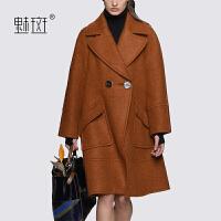 【新年狂欢到手价:711.2】魅斑2019冬装女装大翻领大衣直筒廓形中长款毛呢外套