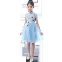 儿童中国风旗袍连衣裙春夏季中式复古女童旗袍裙女孩公主裙唐装女 浅蓝色