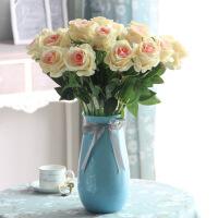 家居仿真花束玫瑰花套装客厅餐桌假花盆栽欧式摆设装饰花艺绢花卉摆件