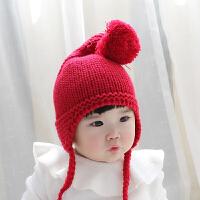 婴儿帽子秋冬季2018新款潮小童洋气针织帽1-2岁女宝宝毛线帽冬装 均码