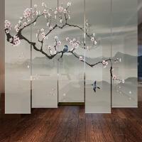 新中式 挂式装饰画窗帘隔断半透玄关帘升降挂帘 客厅遮光卷帘定制