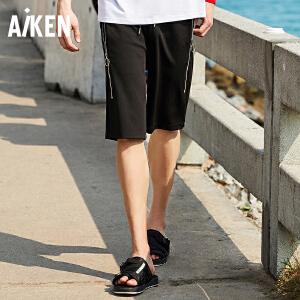 森马旗下Aiken爱肯2018夏新款男生弹力运动宽松黑色青年个性学生休闲短裤