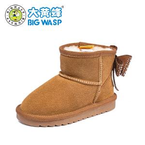 大黄蜂女童雪地靴2018新款冬季 加绒中大童棉靴 小女孩短靴保暖鞋子