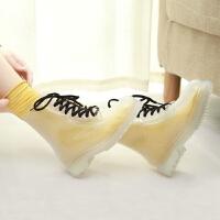 夏季韩国水晶果冻短筒马丁雨靴时尚透明雨鞋水鞋可爱女鞋 全透明 偏小一码