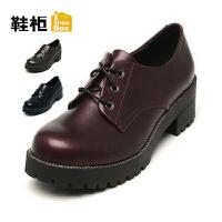 达芙妮集团 鞋柜高跟时尚铆钉粗跟厚底防滑单鞋