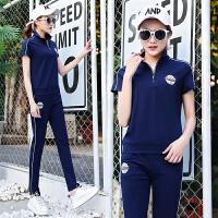 运动套装女2018夏装新款韩版修身休闲套装女夏季时尚宽松短袖运动服夏天两件套潮 宝蓝色 M-女士(建议80-98斤)